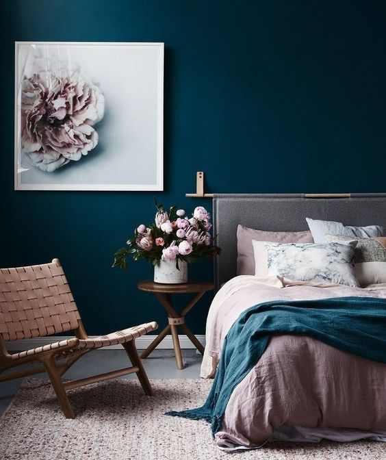 decoração, deslineada, azul, design, quarto, parede, rosa